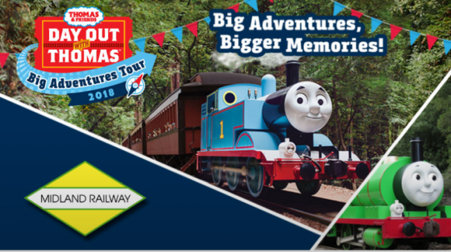 Day out with thomas big adventures tour 2018 kids out and about midland railways 16th year of day out with thomas offers an opportunity for children and their families to take a 25 minute ride with thomas the tank m4hsunfo